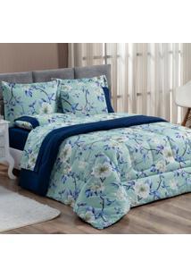Kit Edredom Forest Floral Verde/Marinho Queen Micropercal 200 Fios Dupla Face 03 Peã§As - Azul Marinho - Dafiti
