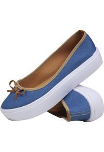 Sapatilha Lacinho Jeans Mb Outlet Flat Form Azul - Azul - Feminino - Dafiti