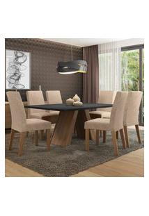 Conjunto Sala De Jantar Madesa Antonela Mesa Tampo De Madeira Com 6 Cadeiras - Rustic/Preto/Imperial Marrom