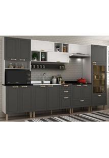 Cozinha Completa 9 Peças Americana Multimóveis 5655 Branco/Grafite