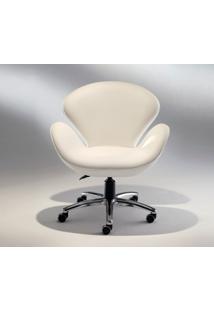Poltrona Swan Office Tecido Sintético Branco Soft D006