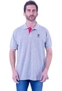 Camisa Polo New York Polo Club Slim Masculina - Masculino-Cinza