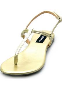 Sandália Rasteira Love Shoes Flat Slim Fio Dental Metalizada Dourado