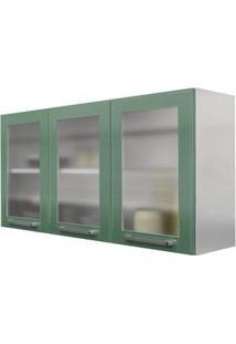 Armário Aéreo Casamob Quadri Com 3 Portas Em Vidro - Branco/Verde