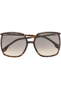Fendi Eyewear Óculos De Sol Oversized Quadrado - Marrom