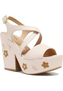 Sandália Zariff Shoes Plataforma Flores - Feminino-Nude