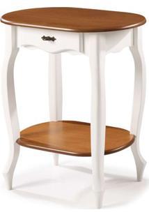 Aparador Oval Elegance Branco Com Imbuia Pes Luiz Xv 70Cm (Larg) - 58858 - Sun House