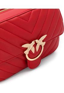 Pinko Bolsa Transversal Love Matelassê Com Placa De Logo - Vermelho