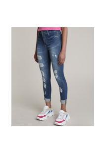 Calça Jeans Feminina Sawary Skinny Cintura Alta Destroyed Com Strass Azul Médio