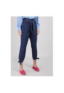 Calça Jeans Feminina Clochard Jogger Cintura Super Alta Com Faixa Para Amarrar Azul Escuro