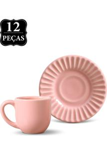 Conjunto 12Pçs Xícaras De Café 75 Ml Porto Brasil Plissé Rosa