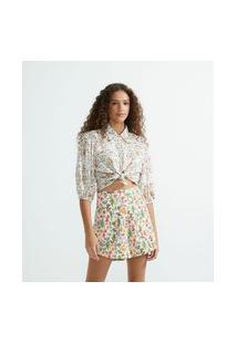 Camisa Manga Curta Bufante Em Viscose Com Estampa Floral | Blue Steel | Branco | P