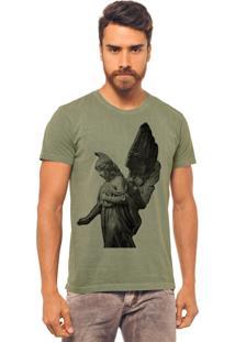 Camiseta Joss Estonada Verde Militar Asas De Anjo