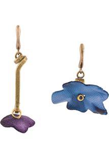 Marni Par De Brincos Floral - Azul