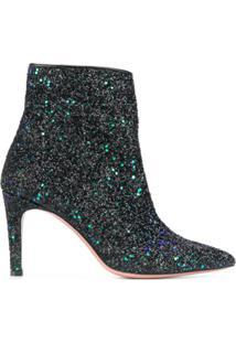 P.A.R.O.S.H. Bota De Salto Alto Bicolor Com Glitter - Preto