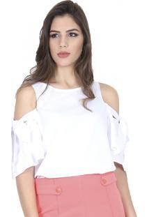 Blusa Romaria Manga Laços Branco