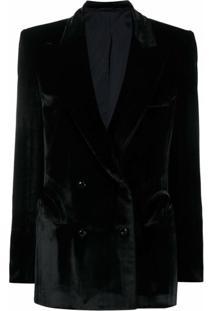 Blazé Milano Blazer Com Abotoamento Duplo E Efeito De Veludo - Preto