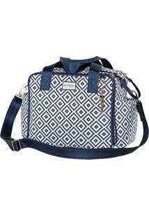 Bolsa Geometric - Azul Escuro & Branca- 33X28X7Cm