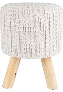 Puff Madeira Algodao Poliester Crochet 4 Feet Bege 30 X 38 X 30 Cm Urban