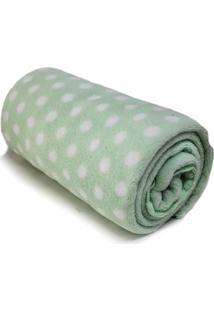 Cobertor Baby Poá- Verde Claro & Branco- 90X110Cm