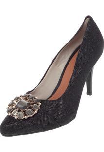 Scarpin Dafiti Shoes Pedraria Preto