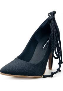 Scarpin Love Shoes Social Bico Fino Salto Alto Lace Up Amarração Preto