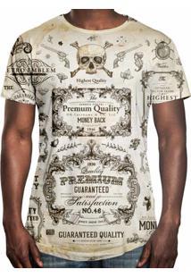 Camiseta Longline Over Fame Old School Bege