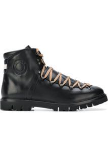 Bally Ankle Boot De Couro E Camurça Com Cadarço - Preto