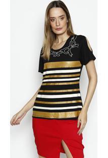 Camiseta Listrada- Preta & Amarela- Dress Todayênfase