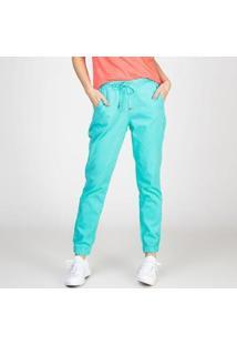 Calça Jogger Color Em Sarja Com Elastano Neomint Bloom Feminina - Feminino-Verde