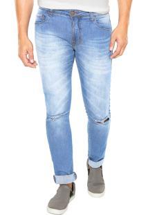 Calça Jeans Be Red Skinny Estonada Azul
