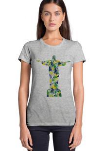 Camiseta Feminino Joss Estampa Aquarela Cristo Cinza