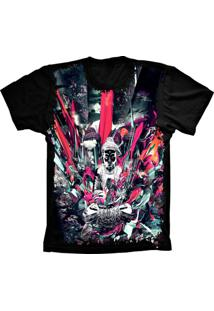 Camiseta Manga Curta Lu Geek Psicodélica Preto