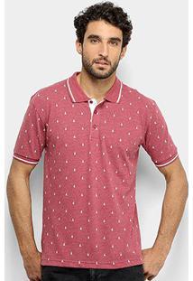 Camisa Polo Broken Rules Mini Print Barcos Masculina - Masculino-Vinho