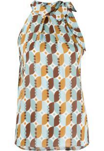 Altea Blusa Frente Única Com Estampa Geométrica - Azul