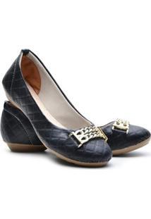 Sapatilha Ded Calçados Bico Redondo Metalassê Feminina - Feminino-Preto