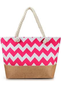 Bolsa De Praia Grande Nylon Jacki Design Estampada Pink E Marrom