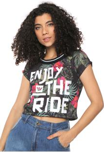 Blusa Hang Loose Tropical Enjoy Preta/Verde
