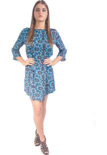 Vestido Lon Camisete Reto Azul