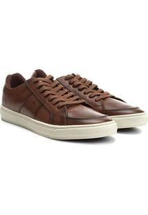 Sapatênis Couro Shoestock Recorte Lateral Masculino - Masculino-Marrom