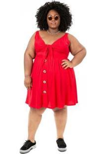 Vestido Plus Size Brio União Feminino - Feminino-Vermelho