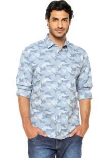 Camisa Colcci Camuflada Azul
