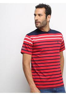 Camiseta Aleatory Fio Tinto Listras Horizontais Masculina - Masculino-Marinho+Vermelho