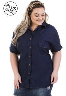 9818911ef ... Camisa Jeans Plus Size - Confidencial Extra Judy Manga Curta