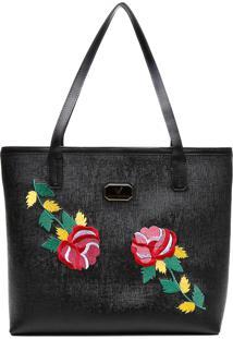 Bolsa Victor Valencia Com Bordado Floral Texturizado Preta