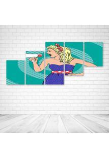 Quadro Decorativo - Speak Woman Pop - Composto De 5 Quadros - Multicolorido - Dafiti