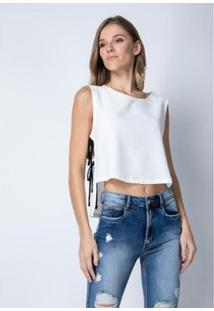 Blusa Mullet Lança Perfume Feminina - Feminino-Branco