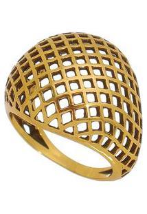 Anel Banhado A Ouro Com Vazados- Dourado- 2X8Cmvincenzo Di Fiori