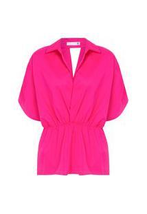 Blusa Feminina Acinturada Decote V De Tricoline - Rosa