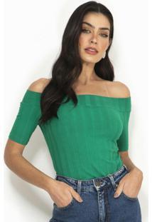 Blusa Ombro A Ombro Canelada Verde